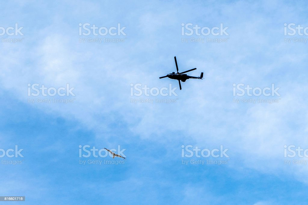 Helicopter observing Hamburg at the G20 summit stock photo