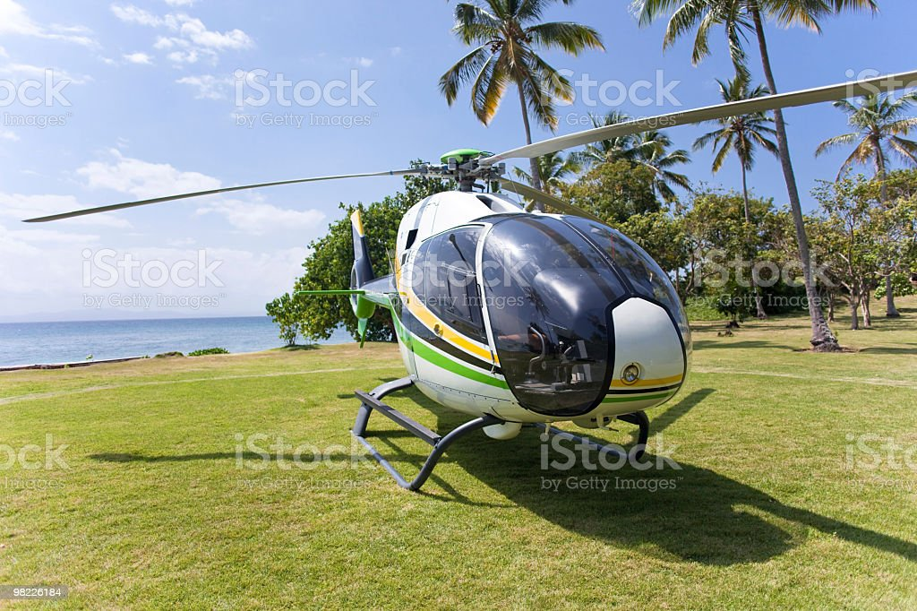 Helicopter on a Caribbean Island royalty-free stock photo