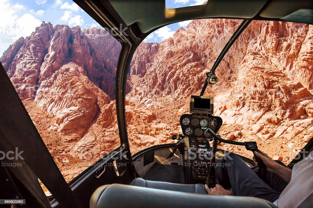 Helicopter on Mount Horeb stock photo