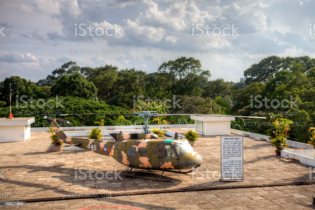 Helicopter on Reunification Palace rooftop stock photo