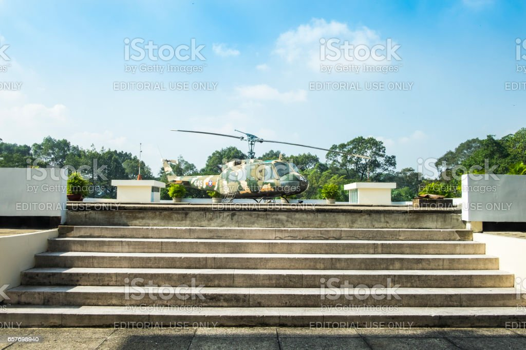 Helicopter on the roof of Independence Palace. stock photo