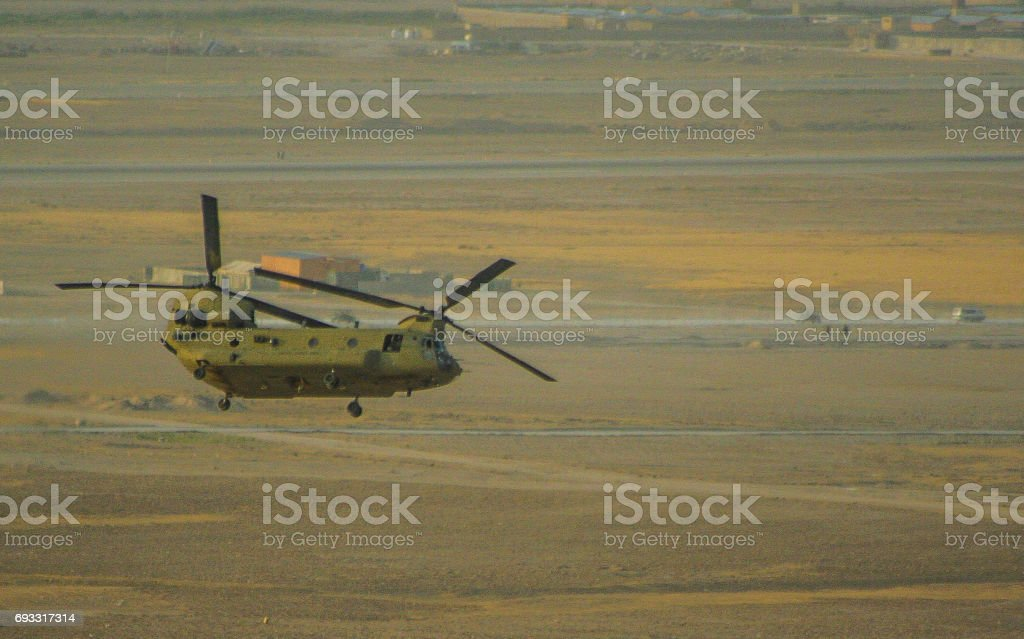 Helicopter operations in Afghanistan stock photo