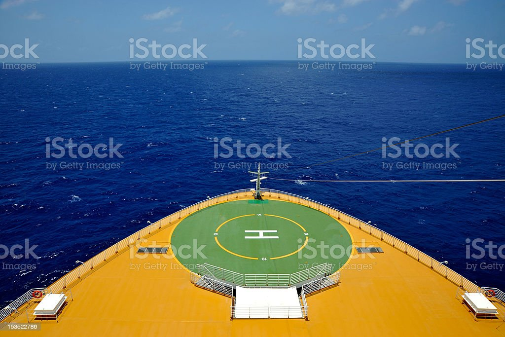 Helicopter Pad on Bow of Cruise Ship stock photo