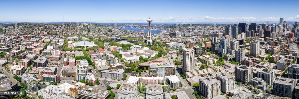 Helicopter Panorama of Downtown Seattle City Skyline with Space Needle and Skyscraper Buildings stock photo