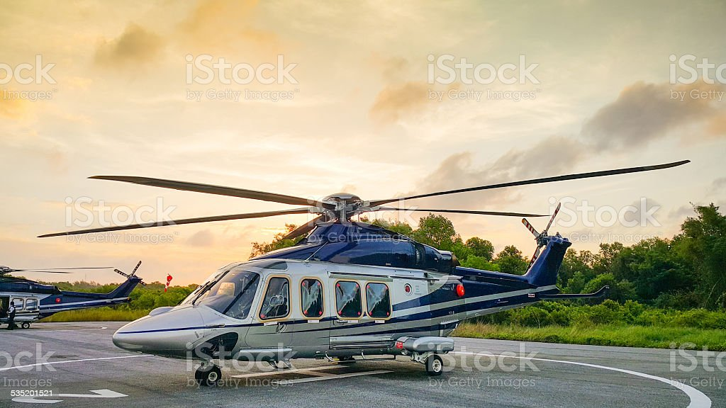 Helicopter parking in Hangar stock photo