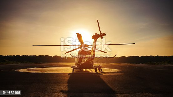 istock helicopter parking landing on offshore platform, Helicopter transfer passenger 544672196