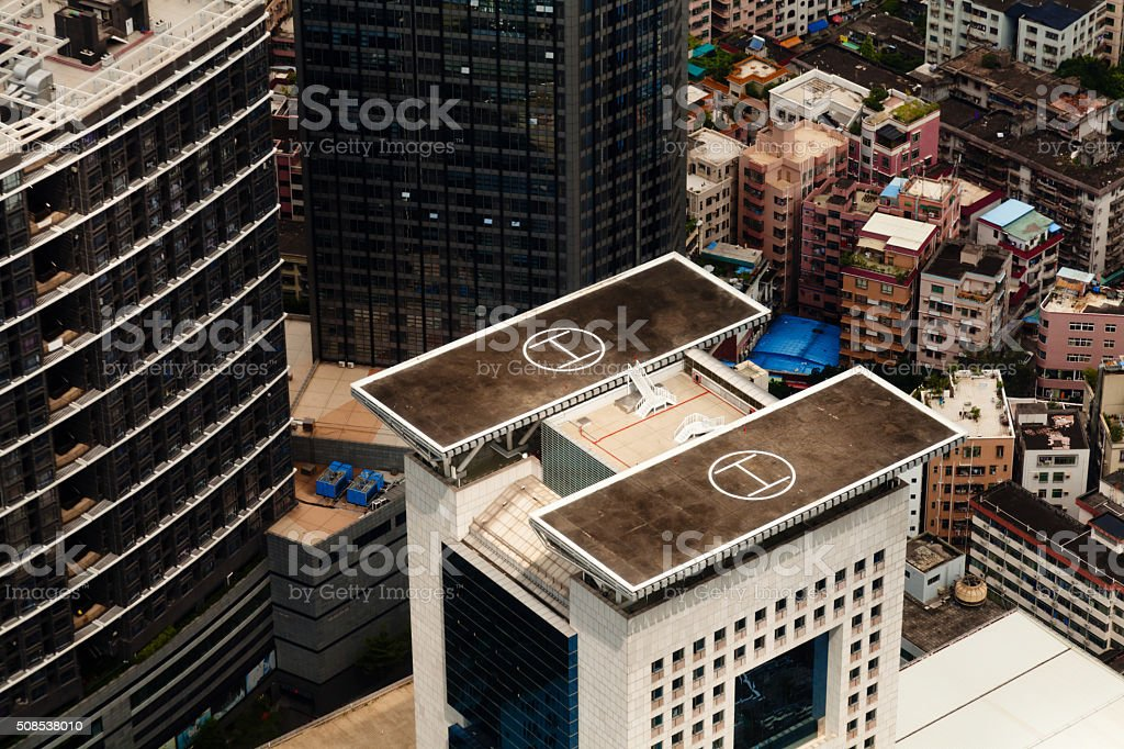 helicopter parking on the building, Shenzhen, China stock photo