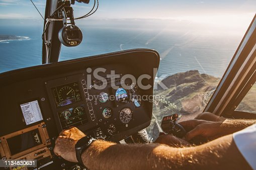 The aerial view of Cape Peninsula from a helicopter in Cape Town,South Africa.