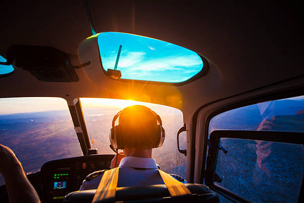 helicopter pilot - cockpit stock photos and pictures