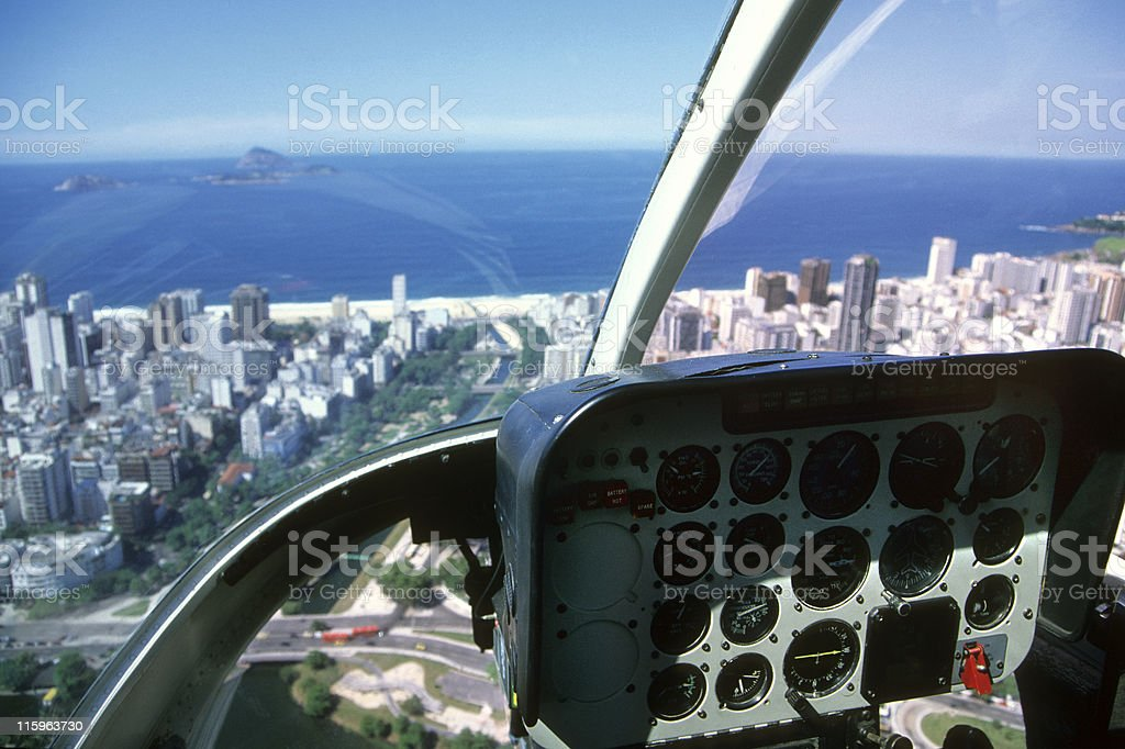 Helicopter ride over Ipanema in Rio de Janeiro royalty-free stock photo