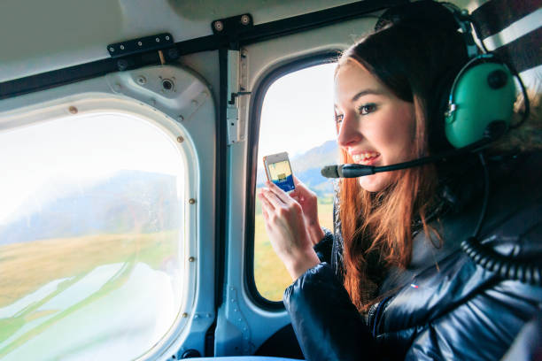 helicopter ride stock photo
