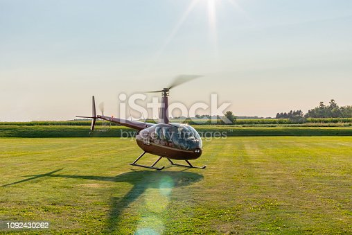 helicopter sightseeing ride taking off from field