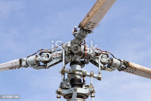 helicopter rotor close-up on a background of blue sky