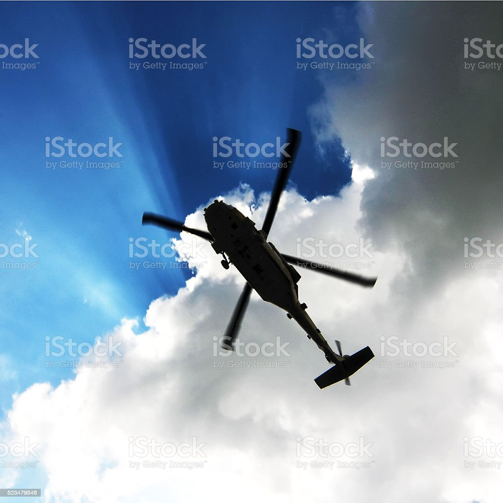 helicopter silhouette - Royalty-free Above Stock Photo