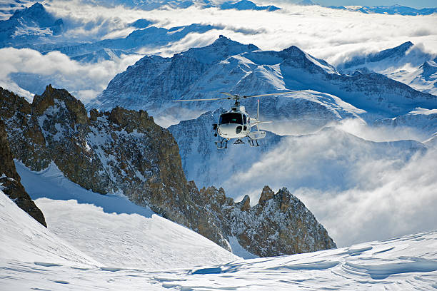 Helicopter Skiing stock photo