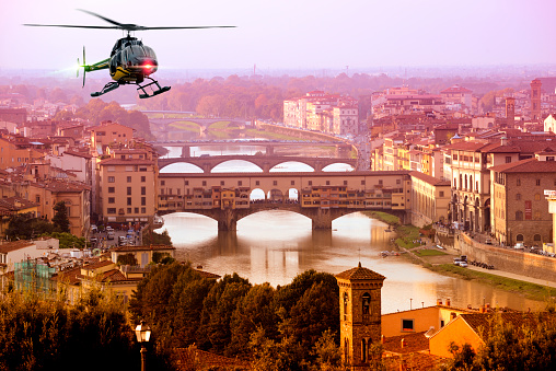 Helicopter Tour Over Florence At Sunset Tuscany Italy Stock Photo -  Download Image Now - iStock