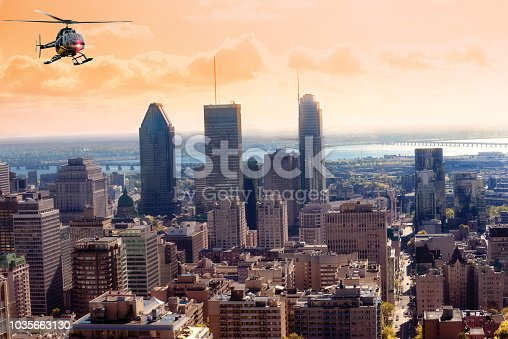 Helicopter tour over Montreal and foliage, Canada