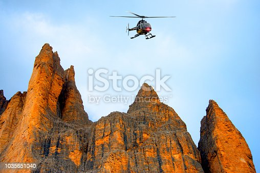 Helicopter tour over Tre Cime di Lavaredo, Dolomites Alps, Italy