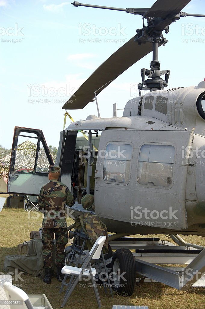 Helicopter unit deployed in the Middle East stock photo
