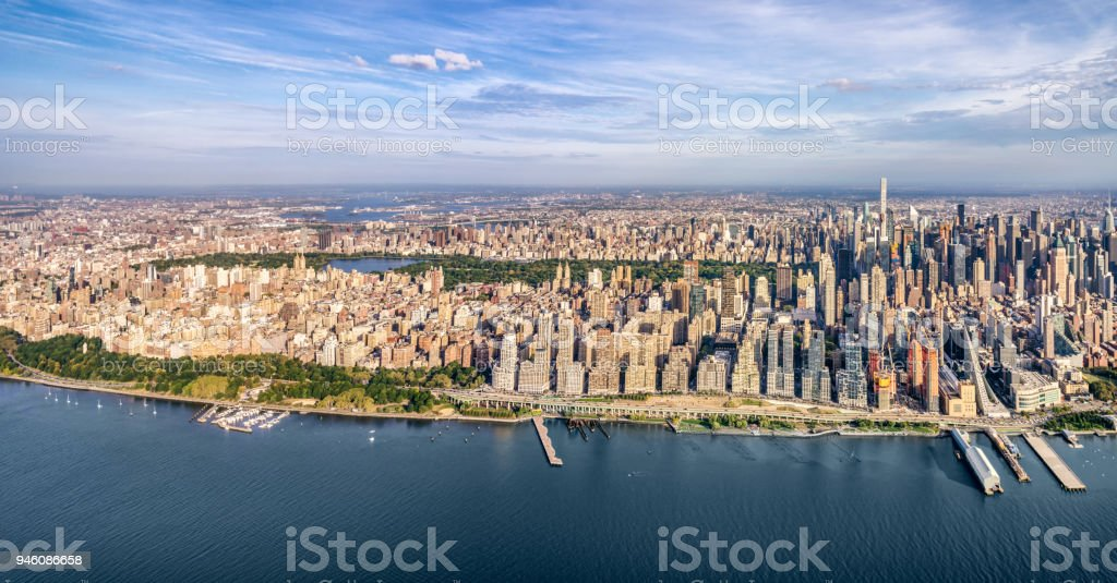 Helicopter view of central park and midtown Manhattan stock photo