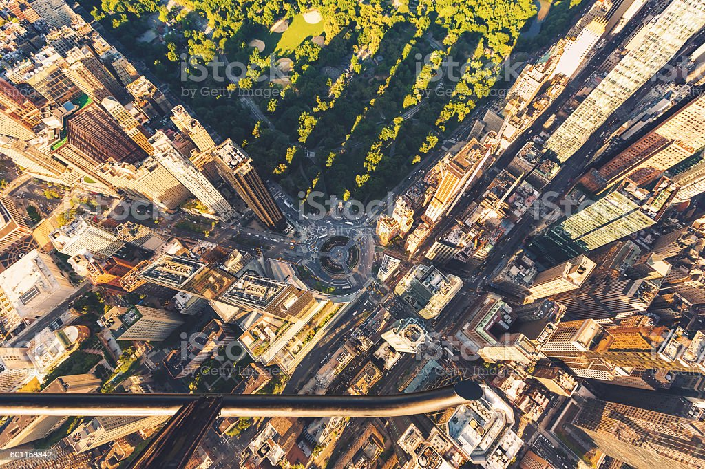 Helicopter view of Columbus Circle and Central Park stock photo