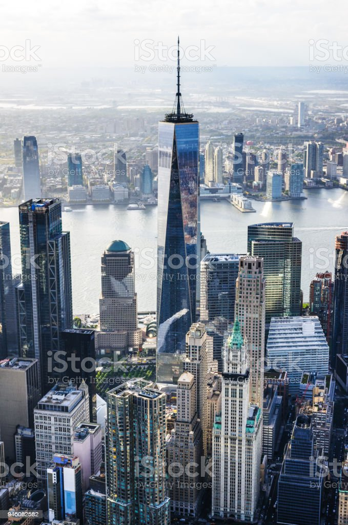 Helicopter view of downtown manhattan island, New York, at sunset stock photo