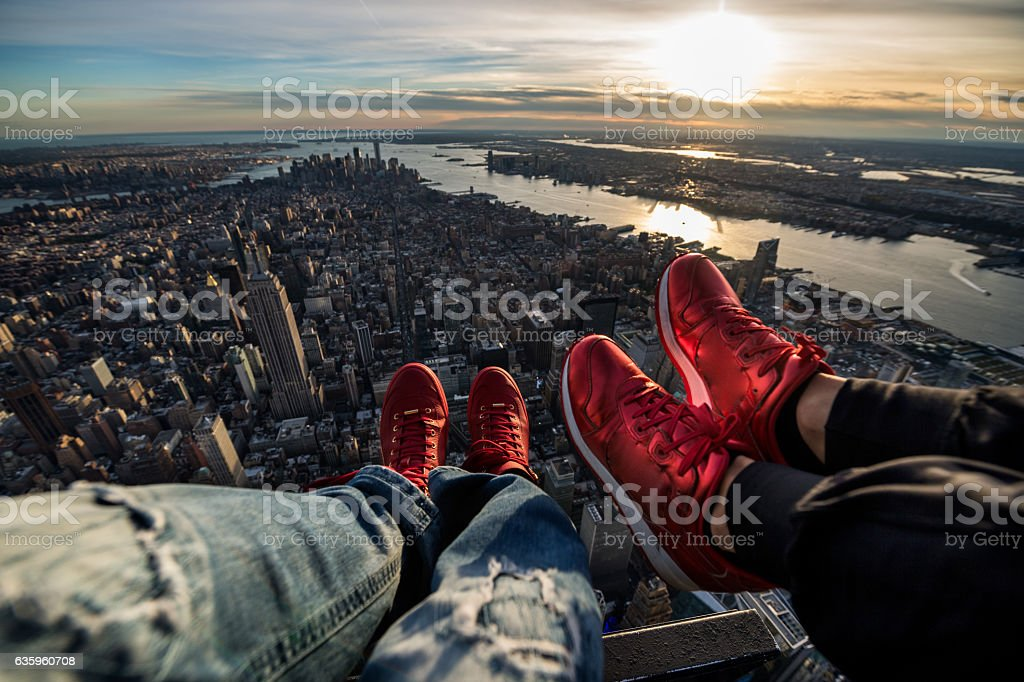 Helicopter view of Manhattan island stock photo