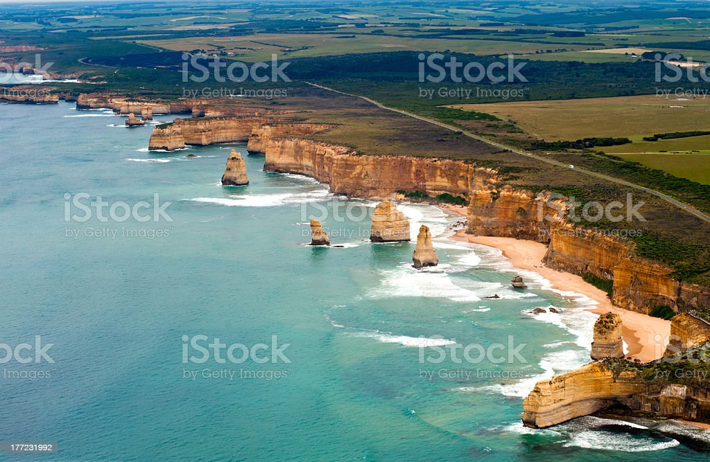 Helicopter view of the great ocean road in Australia stock photo