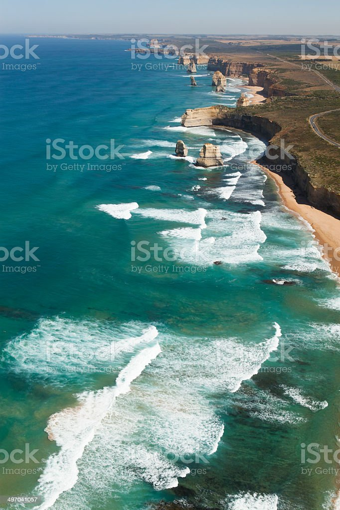Helicopter view of the Twelve apostles. stock photo