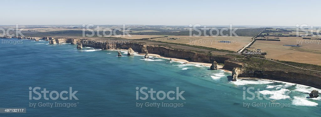 Helicopter view of Twelve apostles. stock photo