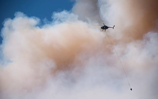Helicopter Water Drop into Hell stock photo