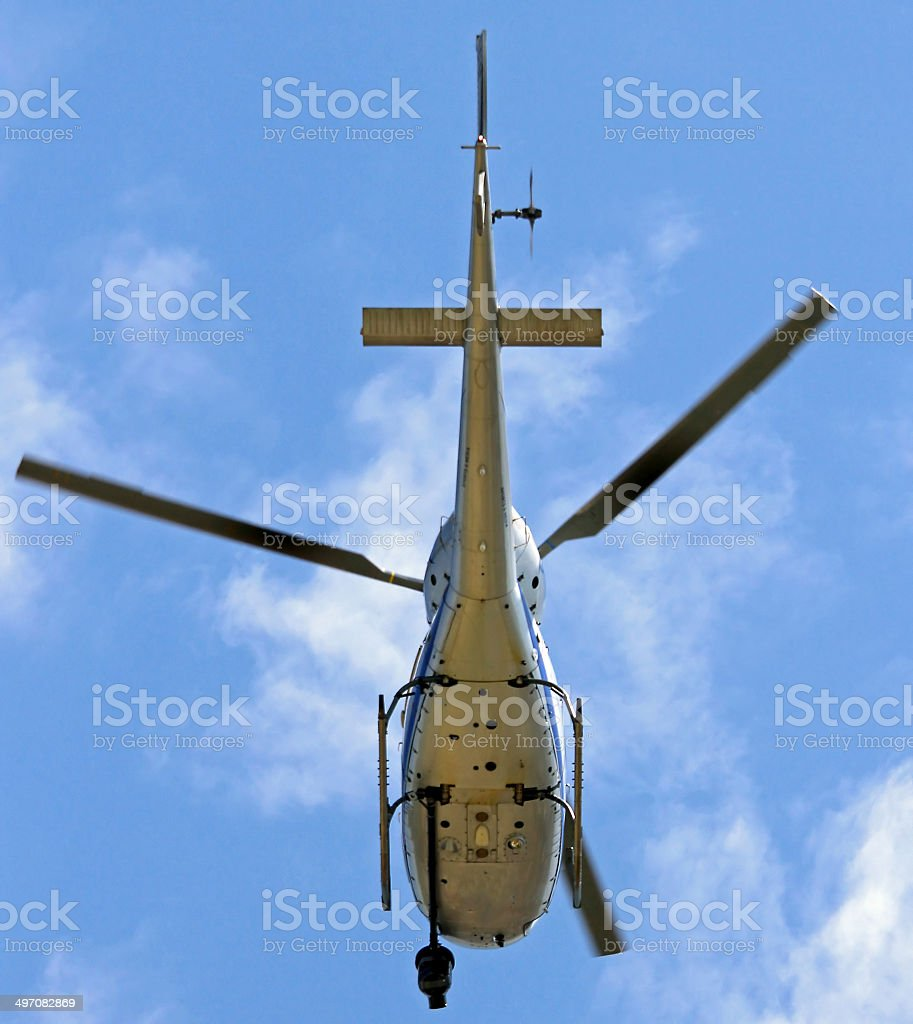 Helicopter with camera for Tv filming stock photo