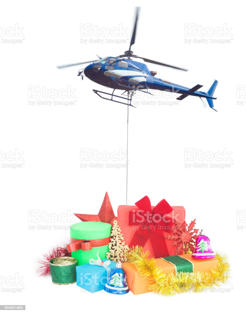 Helicopter With Christmas Gifts Delivery Stock Photo & More Pictures ...