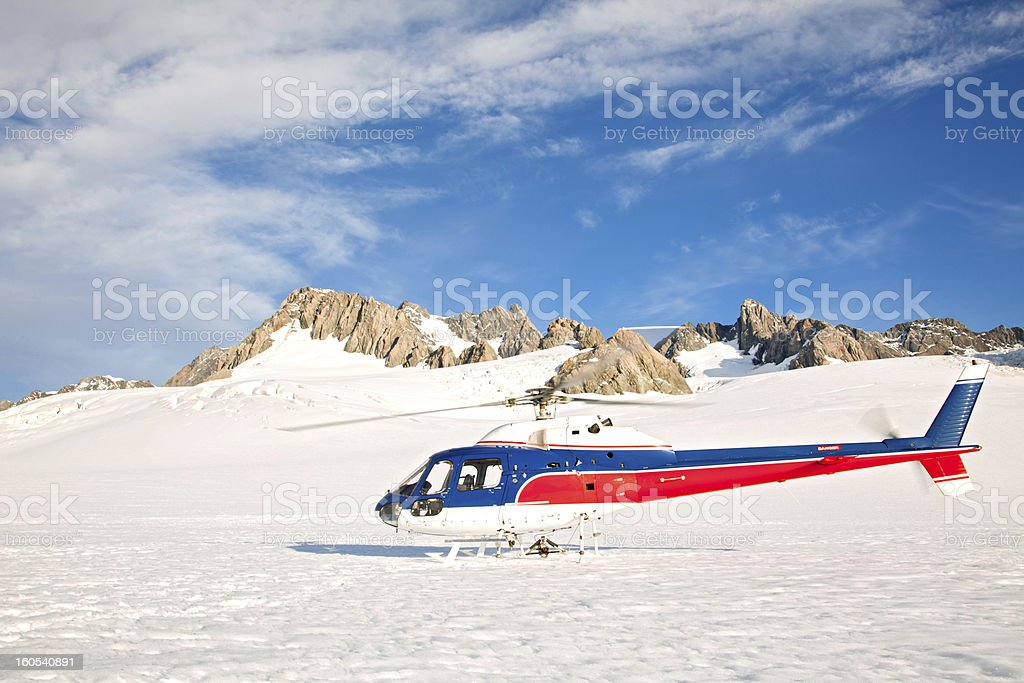 Helicopter with winter landscape royalty-free stock photo