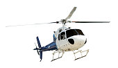 Helicopter with working propeller, isolated on white