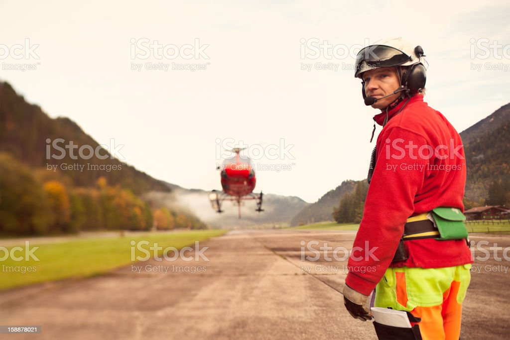 Helicopter Worker royalty-free stock photo