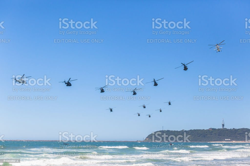 Helicopters Formation Flying Ocean stock photo