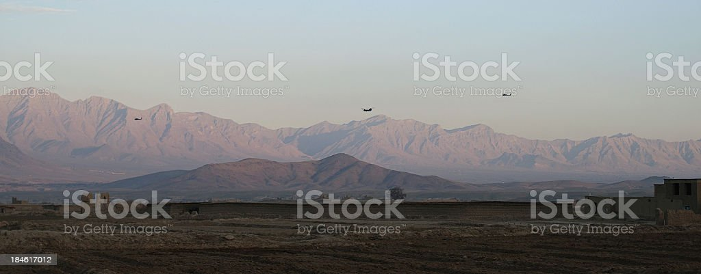 Helicopters in Afghanistan stock photo