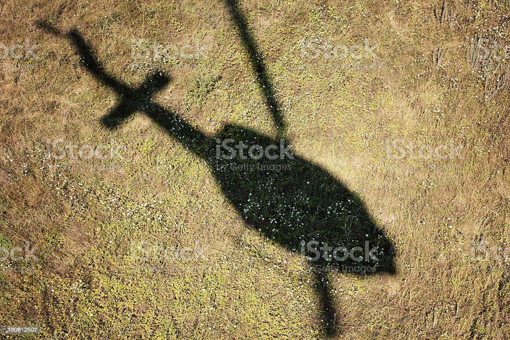 Helicopter's shadow stock photo