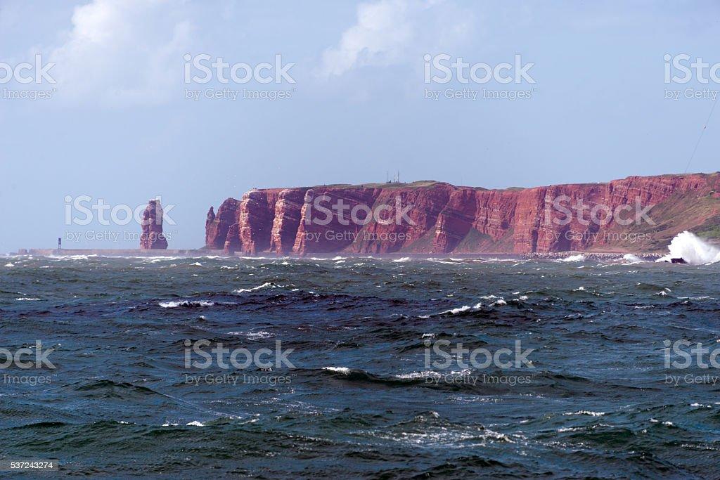 heligoland island in rough seas stock photo
