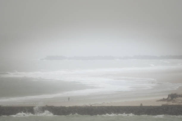 Heligoland on a windy, rainy day stock photo
