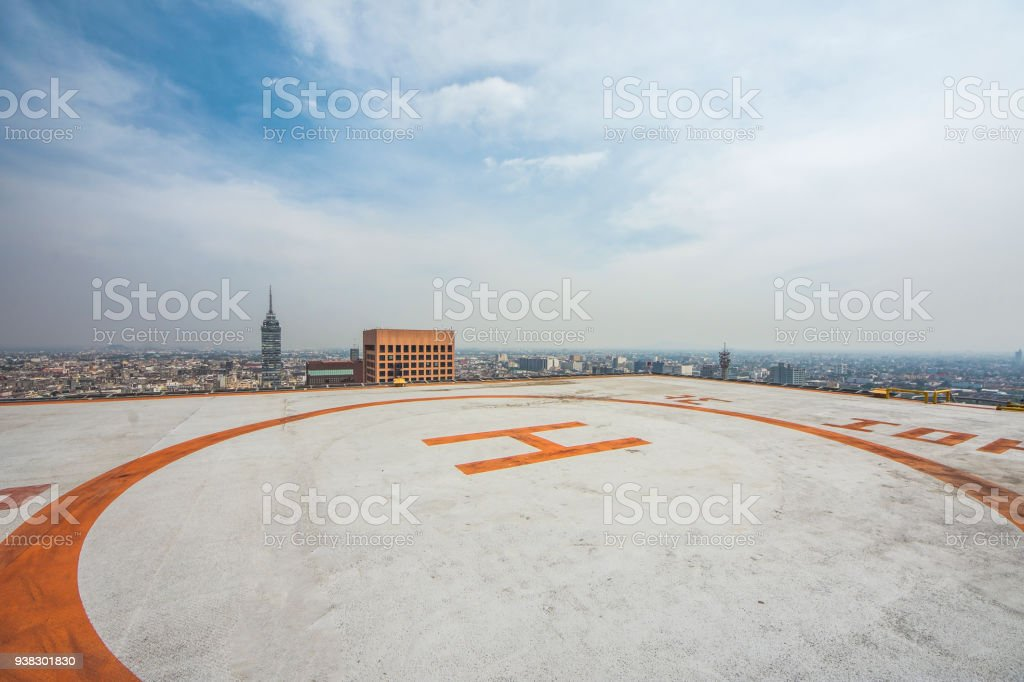Helipad on roof top building stock photo