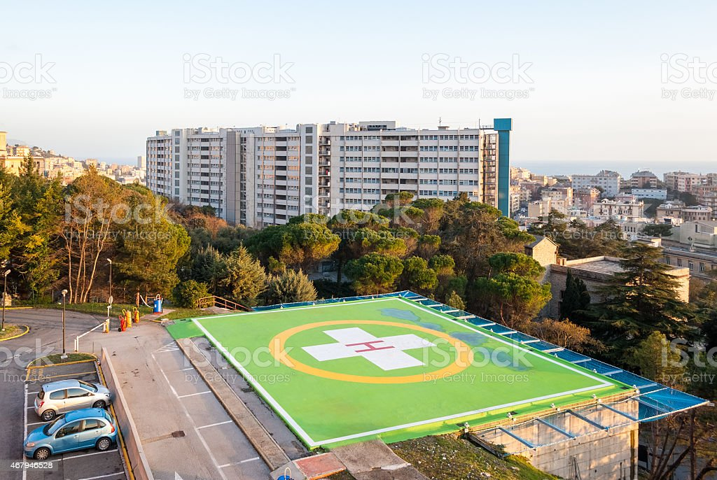 Heliport in a hospital stock photo