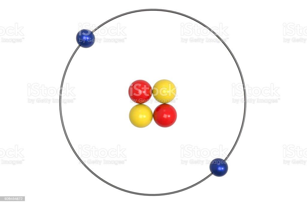 Helium Atom Bohr Model With Proton Neutron And Electron
