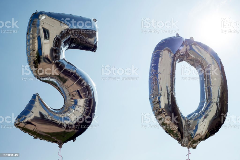 helium balloons for a 50th stock photo