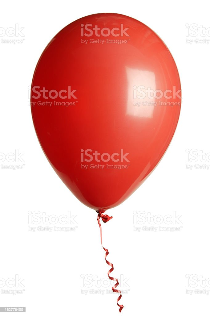 Helium filled red latex party balloon isolated on white royalty-free stock photo