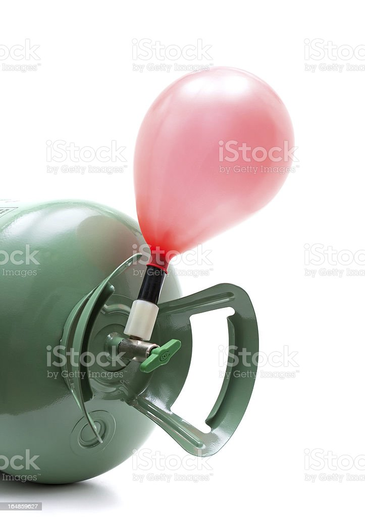 Helium gas cylinder and balloon isolated on white background royalty-free stock photo