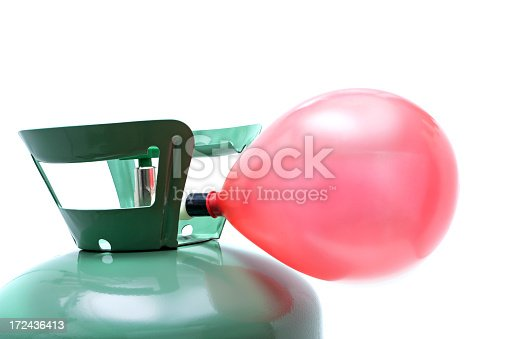 Helium gas cylinder and balloon isolated on white background.