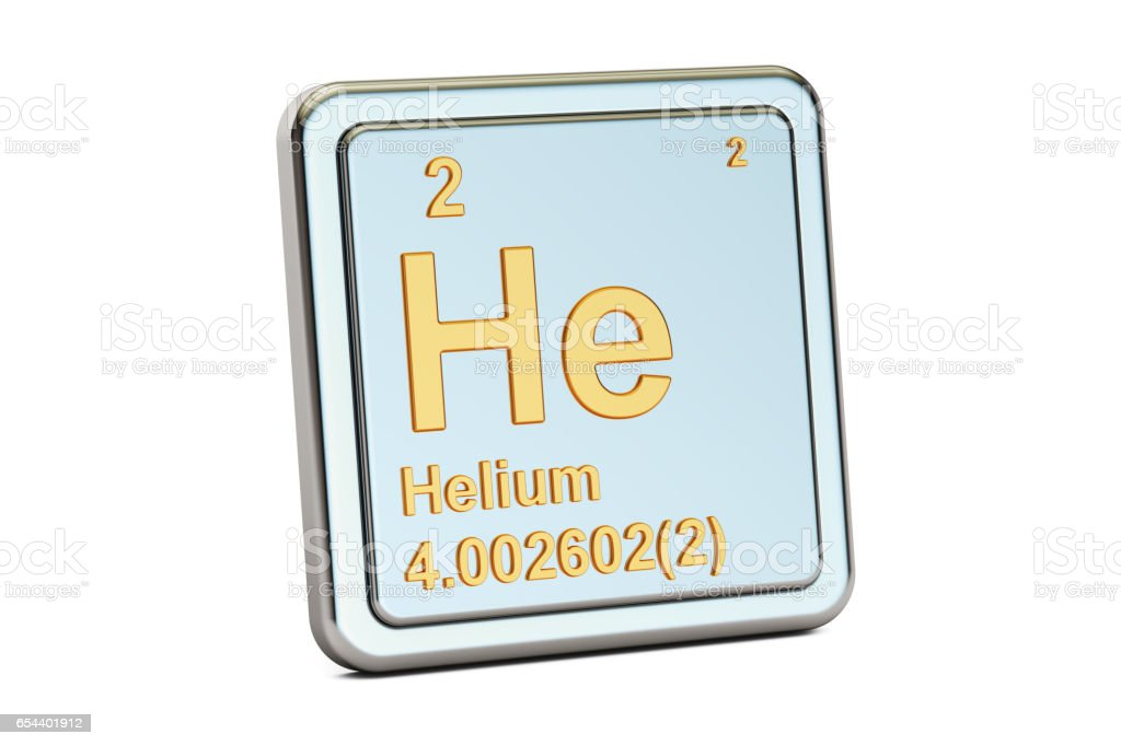 Helium He Chemical Element Sign 3d Rendering Isolated On White