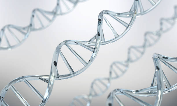 DNA helix Abstract atom or molecule structure for Science or medical stock photo